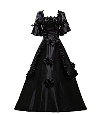 ROLECOS Ladies Medieval Renaissance Victorian Dresses Masquerade Costumes Queen Ball Gown Black Custom Size