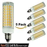 [5-Pack]E11 LED Bulb Dimmable, Replace 100-watt or 75-watt Ceiling Fan Halogen Bulb, Warm White 3000K, Mini Candelabra Base Bulb,Chandelier Bulb,T4 E11 110V 120V 130V LED Energy Saving Light Bulb