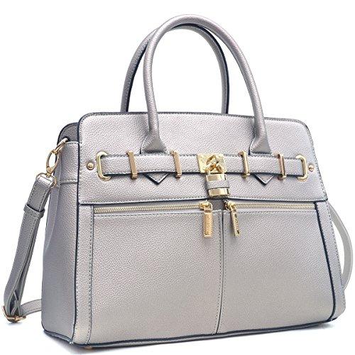 dasein-womens-belted-padlock-double-zipper-front-pockets-satchel-handbag-briefcase-shoulder-bag