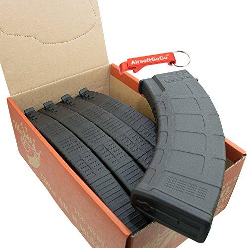 180rd AKM Mid-Cap Magazine for AK Series Airsoft AEG (Black, 5pcs Set) - Keychain Included (180 Cap Set)