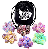 HDdais Polyhedral Mixed Colour Jade Dice Dice Set with Black Leather Bag,6 Complete Dice Sets of D4 D6 D8 D10 D% D12 D20 Great for Dungeons and Dragons DND RPG MTG Games(42 Count)