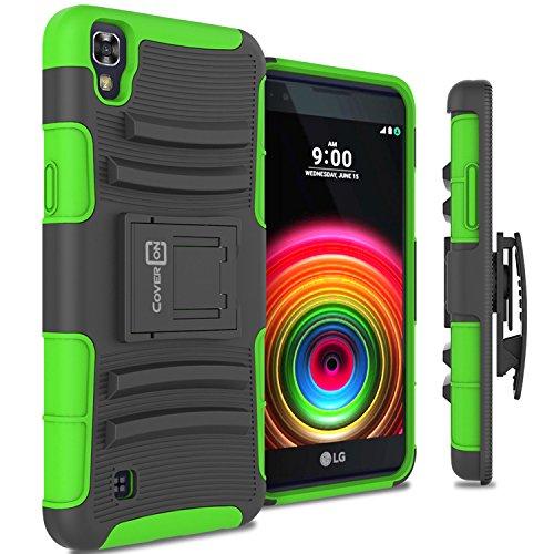 LG X Power Holster Case, CoverON [Explorer Series] Holster Hybrid Armor Belt Clip Hard Phone Cover For LG X Power K210 / K6P Holster Case - Green Neon