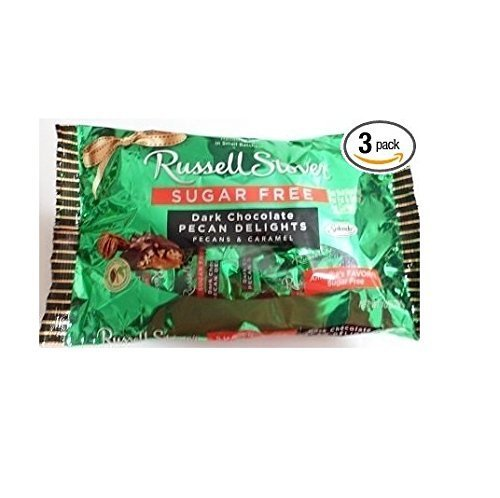 Russell Stover Sugar Free Dark Chocolate Pecan Delights 10 Oz (Pack of 3) by Russell Stover (Sugar Nutrition Russell Free Stover)