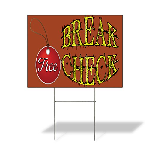 - Plastic Weatherproof Yard Sign Break Check Free Automotive Purple Free Brake Check for Sale Sign Multiple Quantities Available 18inx12in One Side Print One Sign