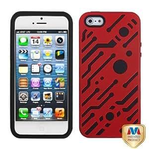 MYBAT Titanium Red/Black Circuitboard Hybrid Phone Protector Cover for APPLE iPhone 5