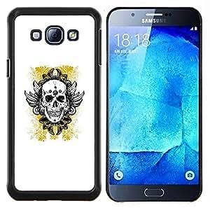 """Be-Star Único Patrón Plástico Duro Fundas Cover Cubre Hard Case Cover Para Samsung Galaxy A8 / SM-A800 ( Oro amarillo del motorista de la tinta del tatuaje de cráneo"""" )"""