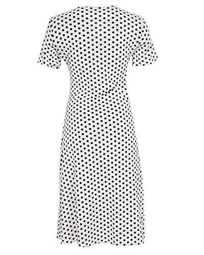 Robe Courtes Point t Profond Robe Moollyfox coeur V Fourreau Manches Femme Cache Blanc Col zE0aWOH5W