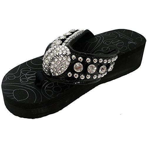Sport Collection Baseball Concho Flip Flops by Montana West-FFBSBS051BK/WT (8, Black) - Concho Collection