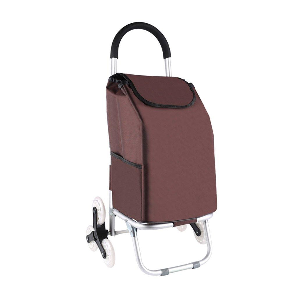 多機能ホームショッピングカートアルミ合金折りたたみ手荷物カート古いショッピングカート、約50KGを支える (Color : Brown)  Brown B07FMMCGSX
