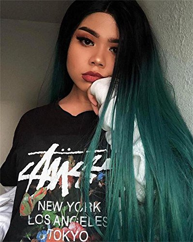 AISI HAIR Ombre Synathetic Wigs for Black Women Long Green Wig Heat Resistant Wigs Middle Part Cosplay Wig Green Party Wigs for Women