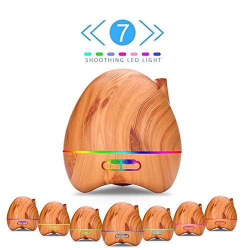 JIAYUE LY-015 300ml Ultrasonic Mute Humidifier Aromatherapy Diffuser LED Color Night Light No Water Auto Power Off Wood Grain Peach Heart Shape , Light wood grain by JIAYUE (Image #1)