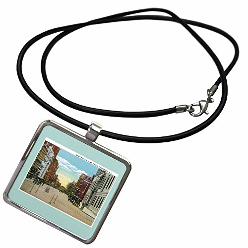 3dRose BLN Vintage US Cities and States Postcards - Corner Main and Market Streets, Poughkeepsie, New York Street Scene - Necklace With Rectangle Pendant - York Scene New Street