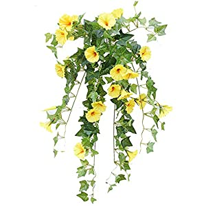 Velidy Artificial Vines,1Pack 25.6inchs Morning Glory Hanging Plants Silk Garland Fake Green Plant Home Garden Wall Fence Stairway Outdoor Wedding Hanging Baskets Decor (White)