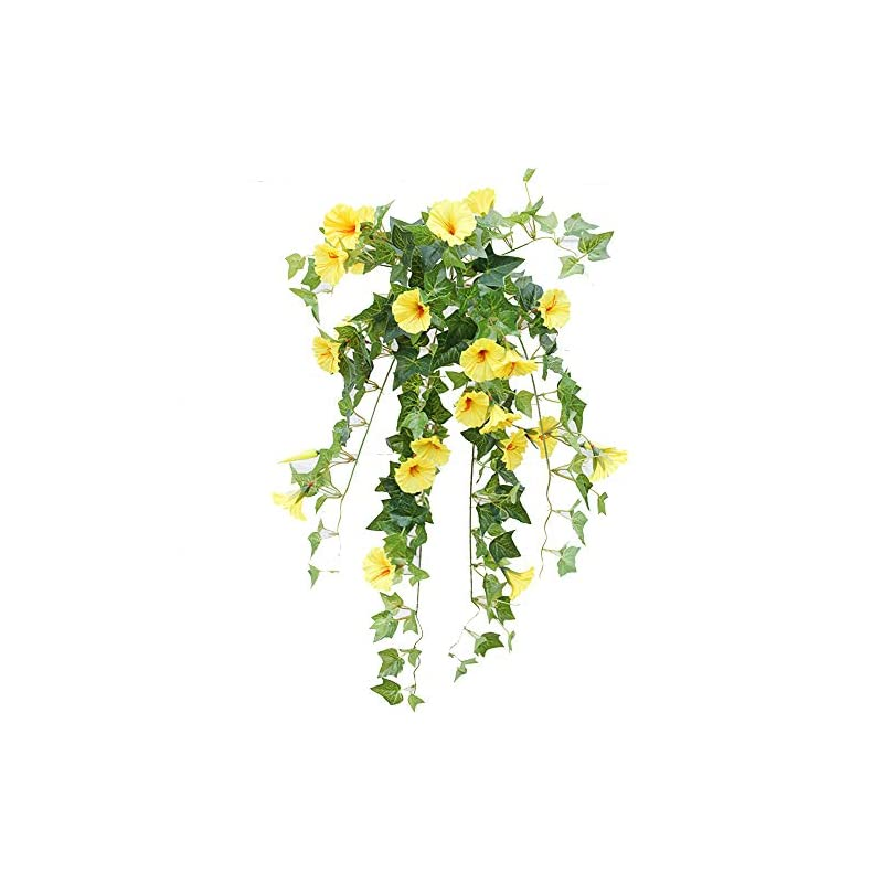 silk flower arrangements velidy artificial vines,1pack 25.6inchs morning glory hanging plants silk garland fake green plant home garden wall fence stairway outdoor wedding hanging baskets decor (white)