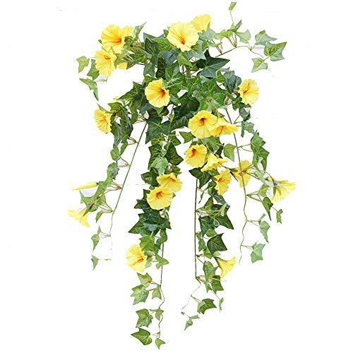 (Velidy Artificial Vines,1Pack 25.6inchs Morning Glory Hanging Plants Silk Garland Fake Green Plant Home Garden Wall Fence Stairway Outdoor Wedding Hanging Baskets Decor (White))