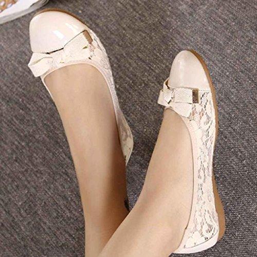 Ularma Zapatos de las mujeres de cuero, Pisos Casual de mujer zapatos de ballet plegable caqui