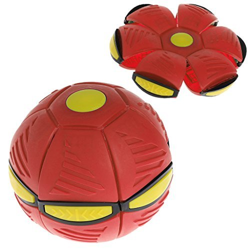 NDJK Flying UFO Flat Throw Disc Ball With LED Light Soft Kids Outdoor Game(Red)