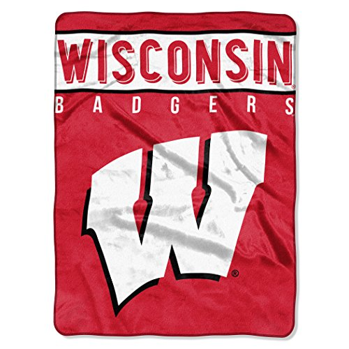 The Northwest Company Officially Licensed NCAA Wisconsin Badgers Basic Plush Raschel Throw Blanket, 60