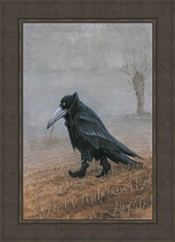 (Krahe by Rudi Hurzlmeier 24x33 Crow Raven Black Bird Wearing Cowboy Boots Humorous Fantasy Framed Art Print Picture )
