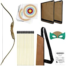 Knidose Beginners Bow and Arrow For Kids - Safe Rubber Tips Archery Set Outdoor or Indoor Party Fun, Handcrafted Wooden Toy for Shooting and Cosplay Costume