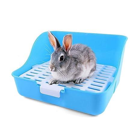 TEEPAO Caja de Arena para Conejos, de plástico, Cuatro Esquinas ...
