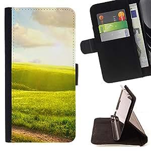 - Nature Green Fields - - Monedero PU titular de la tarjeta de cr????dito de cuero cubierta de la caja de la bolsa FOR LG G3 RetroCandy