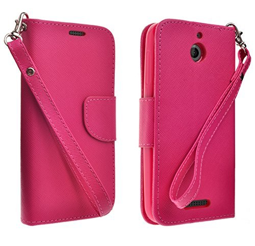 HTC Desire 510 Leather Wallet Case, Slim Flip Folio [Kickstand Feature] Genuine Black Leather Wallet Case with ID&Credit Card Slot For HTC Desire 512/HTC Desire 510 - Hot Pink ()