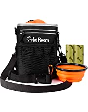 Pet Room Dog Treat Pouch Bag with Poop Bag Holder, Dog Walking Bag with Adjustable Belt and Shoulder Strap, Dog Training Aid, Collapsible Silicone Dog Water Bowl and 2 Extra Dog Waste Bags