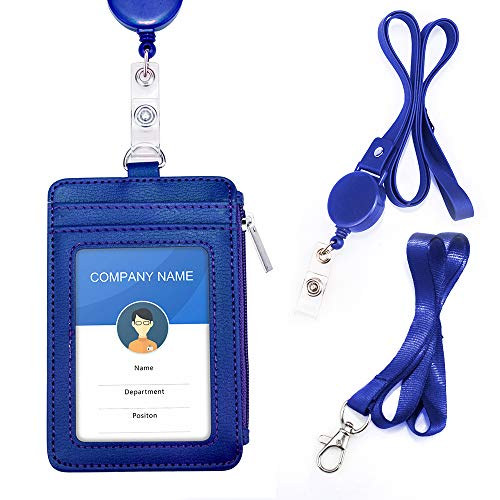 Badge Holder with Zipper, PU Leather ID Card Holder Wallet 4.8