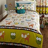 DOUBLE BED DUVET COVER & 2 PILLOW CASES SET WOODLAND CREATURES, OWLS, FOX, FLOWERS / TREES, BROWN, ORANGE, GREEN by BEDMAKER