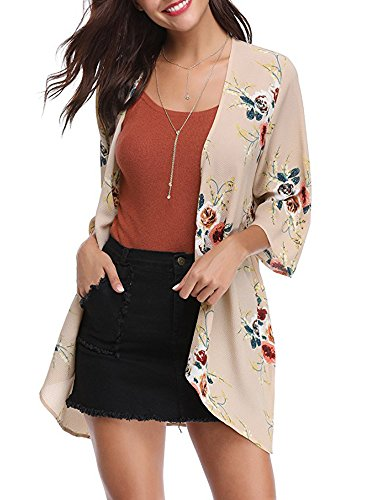 Floral Top Kimono (Lynwitkui Womens Floral Printed Chiffon Kimono Cardigan Short Sleeve Casual Summer Beach Cover up Blouse Tops Outwear S-XL)