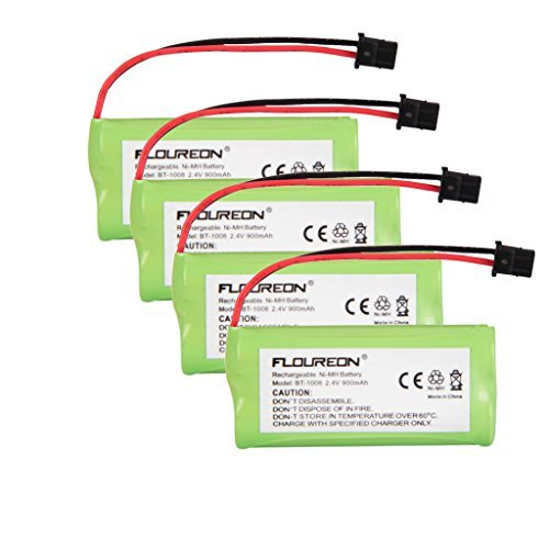 Floureon 4 Packs 2.4V 900mAh Rechargeable Cordless Phone Telephone batteries for Uniden BT-1021 BT1021 BT-1008 BT-1016 ()