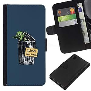 Sony Xperia Z1 L39 - Dibujo PU billetera de cuero Funda Case Caso de la piel de la bolsa protectora Para (Garbage Yoda - Funny)