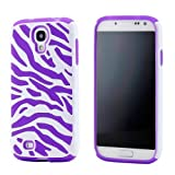GEARONIC White Purple Dual Layer Flex Zebra Hybrid Soft Silicone Hard PC Case Back Cover for Samsung Galaxy S4 i9500