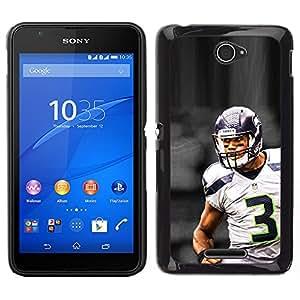 CASECO - Sony Xperia E4 - 3 NFL Football - Delgado Negro Plástico caso cubierta Shell Armor Funda Case Cover - 3 NFL Fútbol