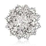 White Crystals Xmas Snowflake Brooch Pin Pendant - Silver Tone - Gift Boxed