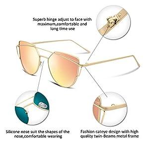 FEISEDY Cat Eye Polarized Mirror Flat Lens Metal Frame Women Sunglasses UV400 B1397