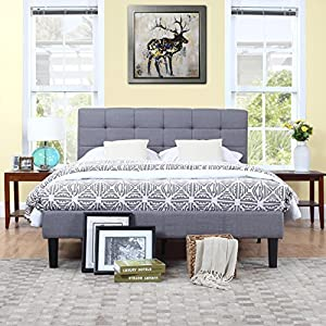 classic deluxe grey linen low profile platform bed frame with tufted headboard design full - Low Platform Bed Frames