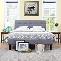 Classic Deluxe Grey Linen Low Profile Platform Bed Frame with Tufted Headboard Design (Queen)
