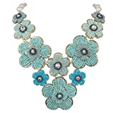 Seed Bead Flowers Cluster Bib Imitation Pearl Boutique Style Necklace (Blue Tones)
