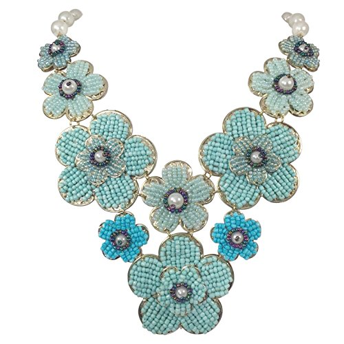 (Seed Bead Flowers Cluster Bib Imitation Pearl Boutique Style Necklace (Blue Tones))