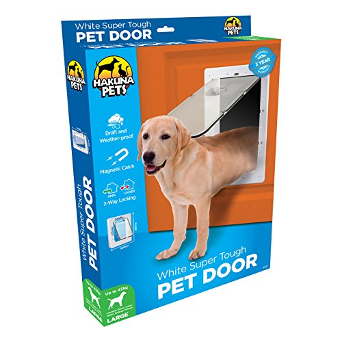 Hakuna Pets Super Tough Removable Dog & Cat Door w/Locks, Large, White For Sale