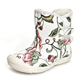 Kuner Baby Girls Pu Leather Faux Fleece Rubber Soles Outdoor Warm Snow Boots (14.5cm(18-24months) - White Flowers)