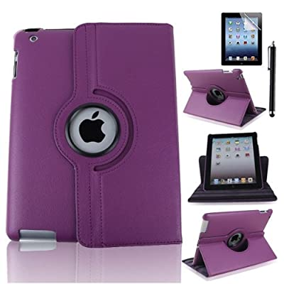 Case-online For Apple iPad 2/3/4 Luxury Pu Leather Flip Folio Stand Rotating Magnetic Cover Smart Case+Stylus+Protector - Purple from TYSO USA