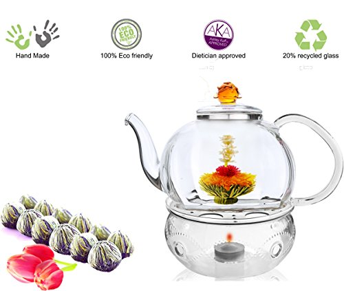 Glass Teapot with Tea Warmer Lead Free Special Glass No Drip by Tea Beyond (Glass, 50 oz Amber+Detox 12cts)