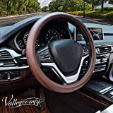 Valleycomfy Steering Wheel Covers Universal 15 inch with Genuine Leather for Car Truck SUV (coffee-150)