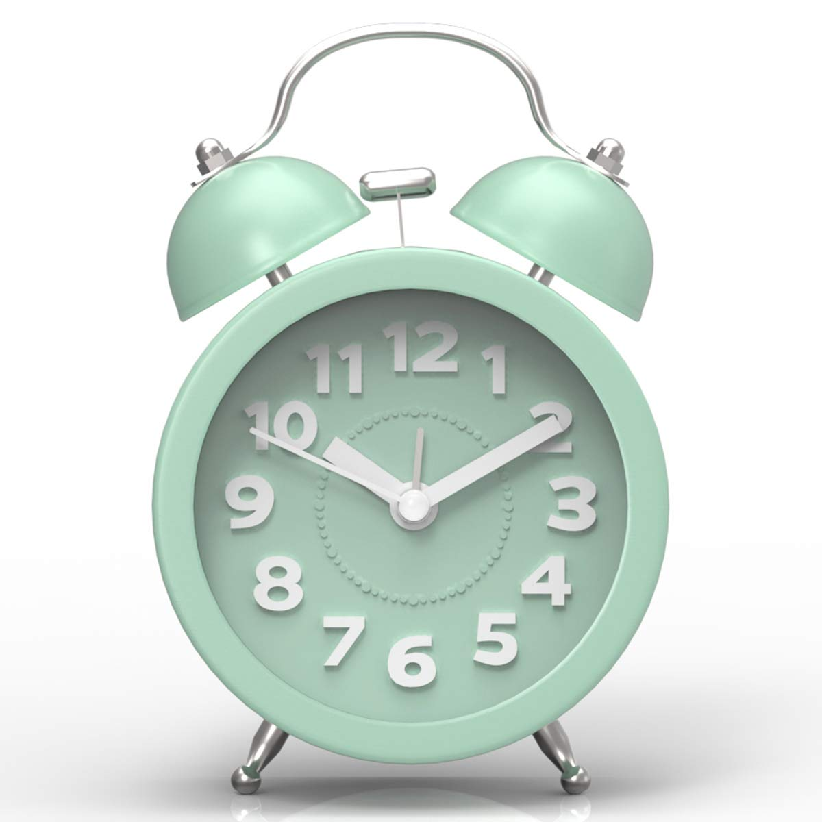"""Pilife 3"""" Cute Twin Bell Alarm Clock for Bedroom,Retro Vintage Analog Alarm Clock with non Ticking"""