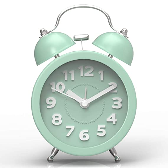 "Pilife 3"" Cute Twin Bell Alarm Clock For Bedroom,Retro Vintage Analog Alarm Clock With Non Ticking, Super Loud For Heavy Sleepers (Mint Green) by Pilife"