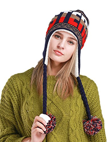 LITHER Women Winter Ski Earmuffs Hats Warm Soft Knitted Earflap Cap with 3 Wool Balls ()