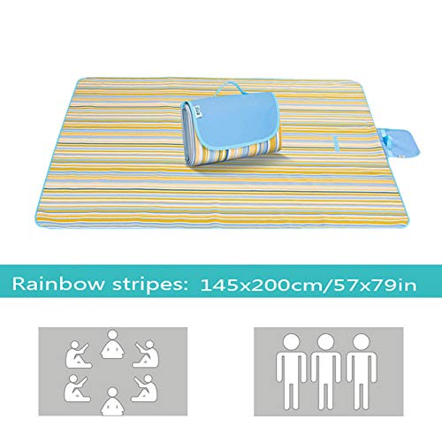 - LQ&XL Beach Blanket,Compact Lightweight Picnic Blanket Outdoor Beach Mat Portable Waterproof and Sand Proof Ripstop Sand Mat Suitable for Camping Travelling,Blue,145x200cm/57x79in